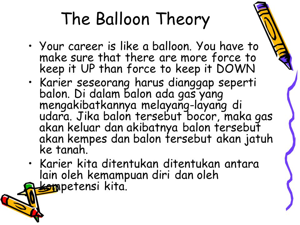 The Balloon Theory Your career is like a balloon. You have to make sure that there are more force to keep it UP than force to keep it DOWN Karier sese