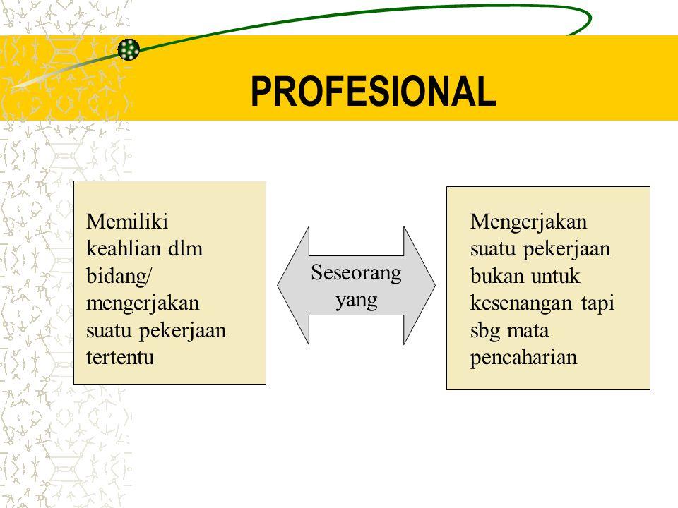 PROFESIONAL Seseorang yang Memiliki keahlian dlm bidang/ mengerjakan suatu pekerjaan tertentu Mengerjakan suatu pekerjaan bukan untuk kesenangan tapi sbg mata pencaharian