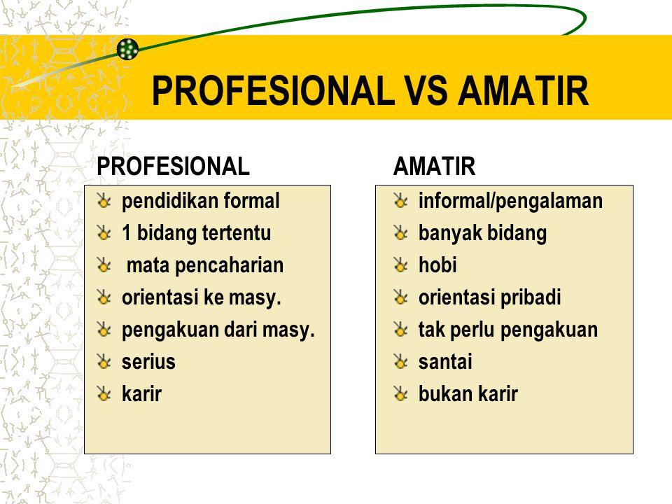 PROFESIONAL VS AMATIR PROFESIONAL pendidikan formal 1 bidang tertentu mata pencaharian orientasi ke masy.
