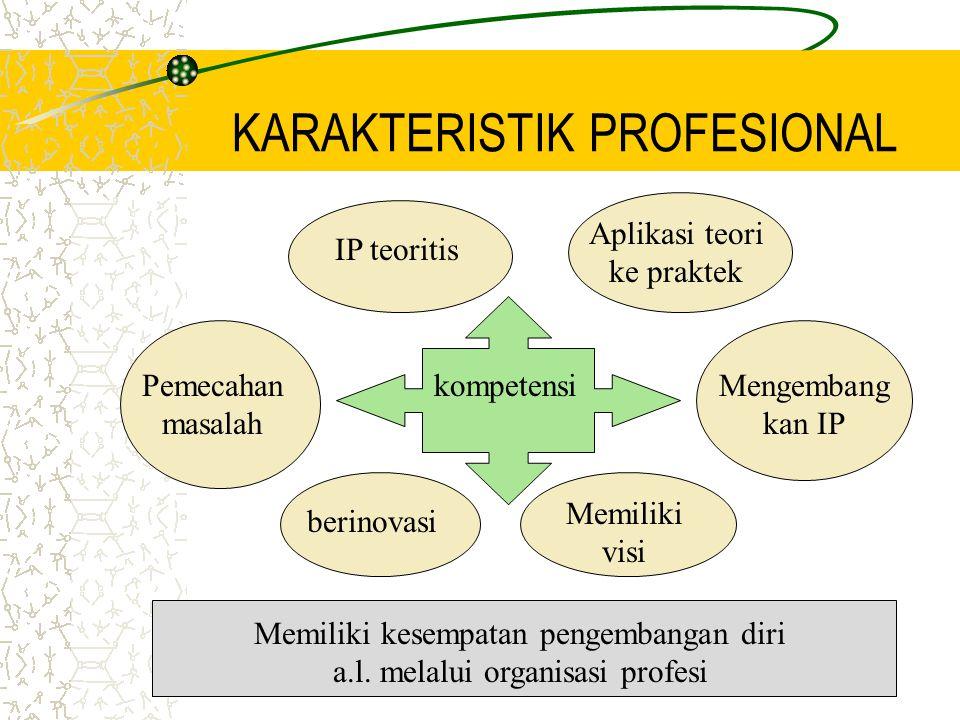 KARAKTERISTIK PROFESIONAL IP teoritis Aplikasi teori ke praktek Pemecahan masalah Mengembang kan IP kompetensi Memiliki visi Memiliki kesempatan pengembangan diri a.l.