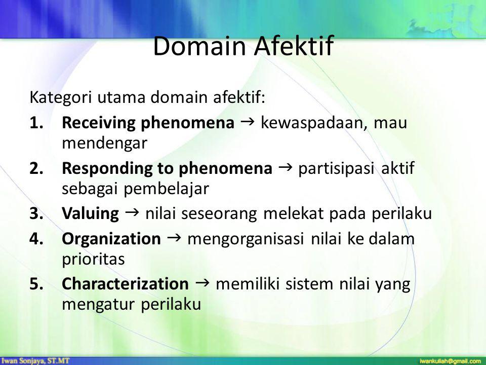 Domain Afektif Kategori utama domain afektif: 1.Receiving phenomena  kewaspadaan, mau mendengar 2.Responding to phenomena  partisipasi aktif sebagai