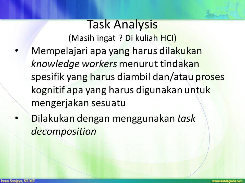 Task Analysis (Masih ingat ? Di kuliah HCI) Mempelajari apa yang harus dilakukan knowledge workers menurut tindakan spesifik yang harus diambil dan/at