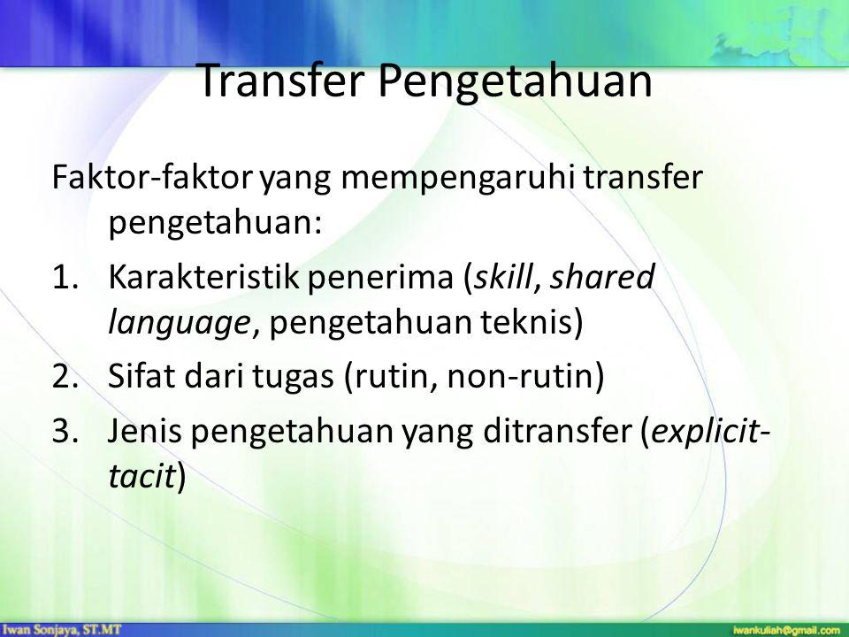 Transfer Pengetahuan Faktor-faktor yang mempengaruhi transfer pengetahuan: 1.Karakteristik penerima (skill, shared language, pengetahuan teknis) 2.Sif
