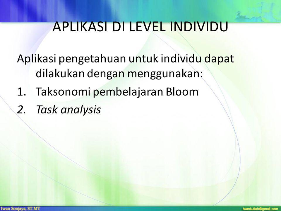APLIKASI DI LEVEL INDIVIDU Aplikasi pengetahuan untuk individu dapat dilakukan dengan menggunakan: 1.Taksonomi pembelajaran Bloom 2.Task analysis