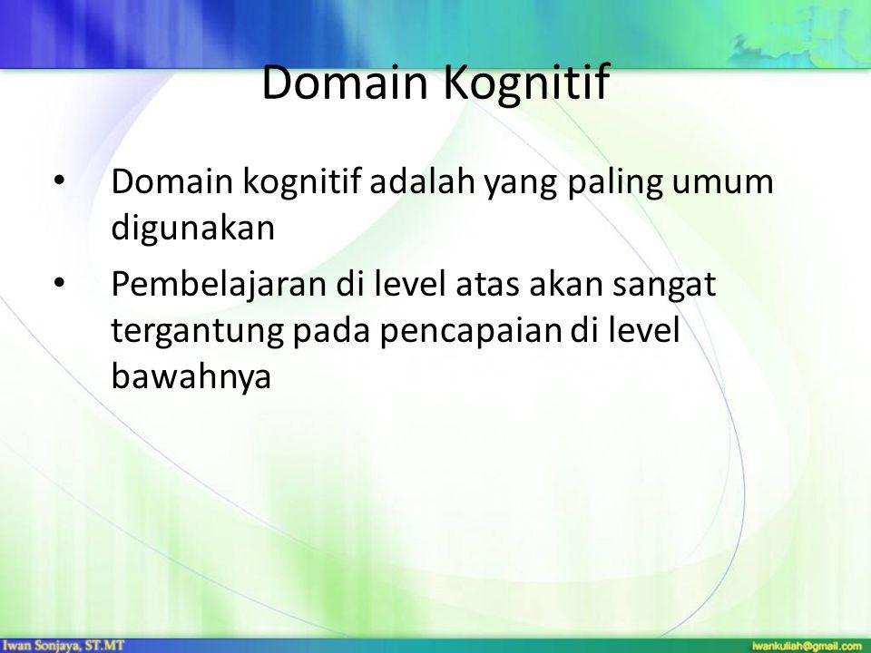 Domain Kognitif Level pembelajaran domain kognitif: 1.Knowledge  mengingat sesuatu 2.Comprehension  menangkap/memahami arti sesuatu 3.Application  menggunakan sesuatu dalam situasi konkrit 4.Analysis  memecah sesuatu menjadi material pembentuknya 5.Synthesis  menyusun bagian-bagian menjadi satu 6.Evaluation  menilai sesuatu berdasar kriteria tertentu