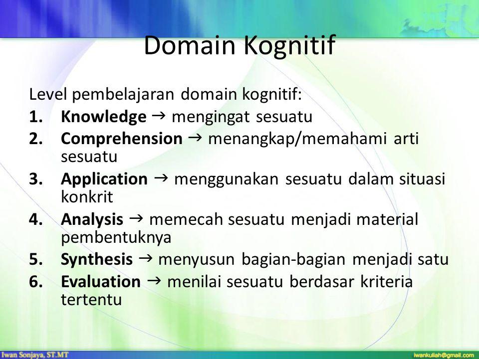 Domain Kognitif Level pembelajaran domain kognitif: 1.Knowledge  mengingat sesuatu 2.Comprehension  menangkap/memahami arti sesuatu 3.Application 