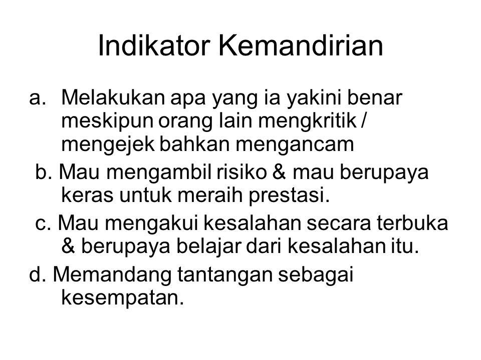 Indikator Kemandirian a.Melakukan apa yang ia yakini benar meskipun orang lain mengkritik / mengejek bahkan mengancam b.