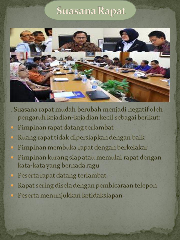 Langkah-langkah penting yang perlu diperhatikan untuk mempersiapakn rapat adalah, sebagai berikut: Menyiapkan agenda rapat Penyampaian undangan rapat