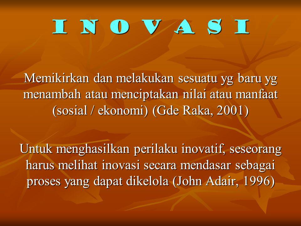 INOVASI (John Adair, 1996) Inovasi adalah proses menemukan atau mengimplementasikan sesuatu yang baru ke dalam situasi yang baru. Konsep kebaruan ini