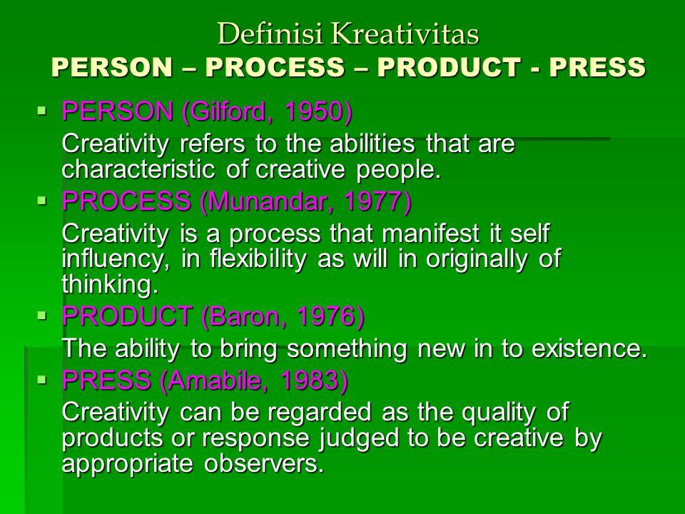 KREATIVITAS vs INOVASI (George JM & Zhou J., 2001) Inovasi & kreativitas berada dlm wilayah domain yg sama, ttp memiliki batasan yg tegas. Kreativitas