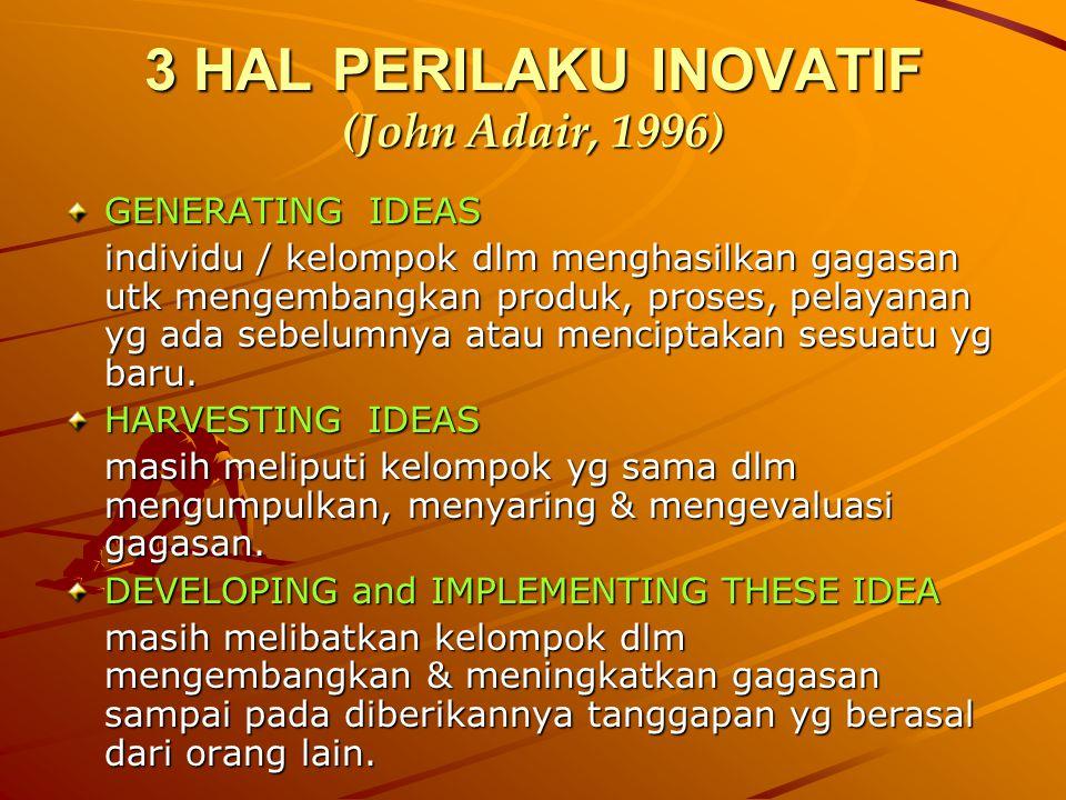 HAMBATAN KREATIVITAS ( John Adair, 1996 )  Sikap negatif, tendensi utk memfokuskan aspek negatif dari problem & menghabiskan energi utk kecemasan tsb