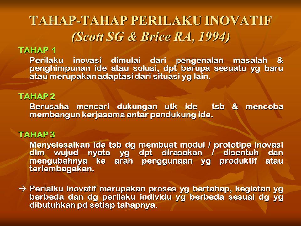 KARAKTER INDIVIDU YG MEMILIKI PERILAKU INOVATIF (George JM dan Zhou J, 2001)  Mencari tahu teknologi baru, proses, teknik, ide-ide baru  Menghasilka