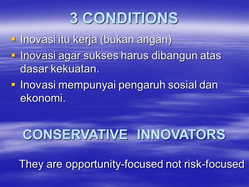 "PRINCIPLES OF INNOVATION : The Dont's (Peter Drucker dalam Gde Raka, 2001)  Jangan bersifat ""pandai"" (minteri)  Jangan beragam & mengerjakan sesuatu"