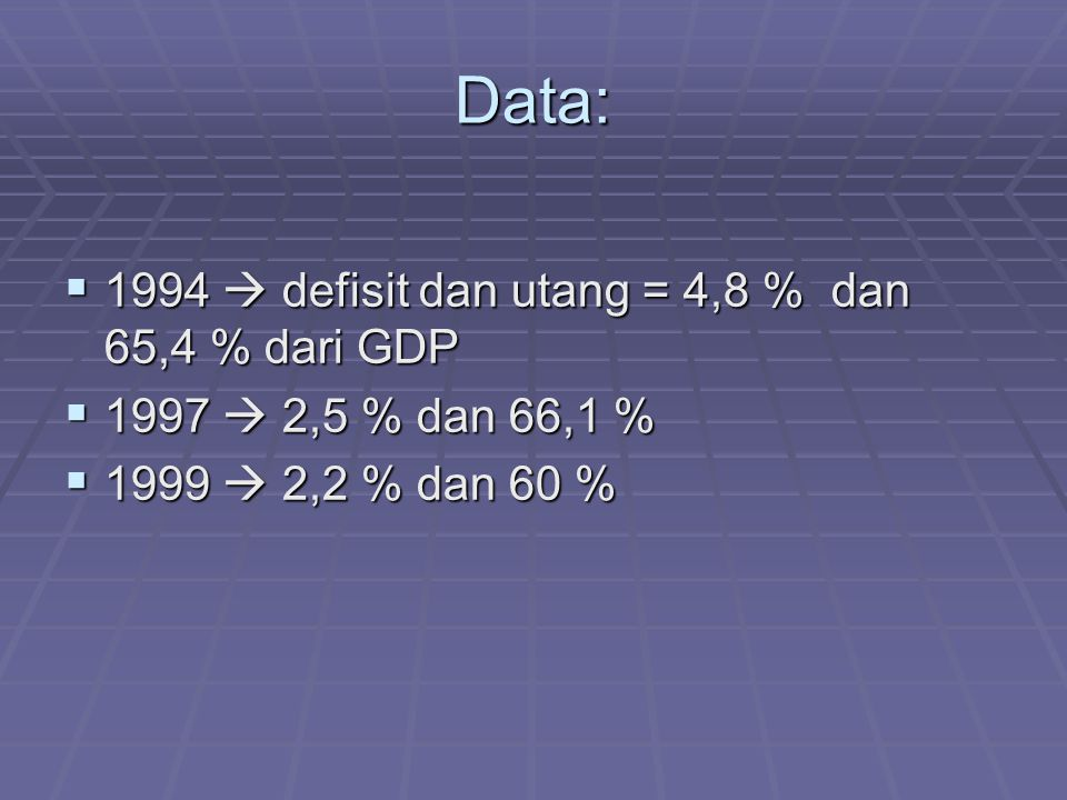 Data:  1994  defisit dan utang = 4,8 % dan 65,4 % dari GDP  1997  2,5 % dan 66,1 %  1999  2,2 % dan 60 %