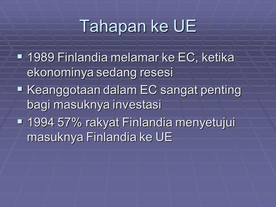 Tahapan ke UE  1989 Finlandia melamar ke EC, ketika ekonominya sedang resesi  Keanggotaan dalam EC sangat penting bagi masuknya investasi  1994 57%