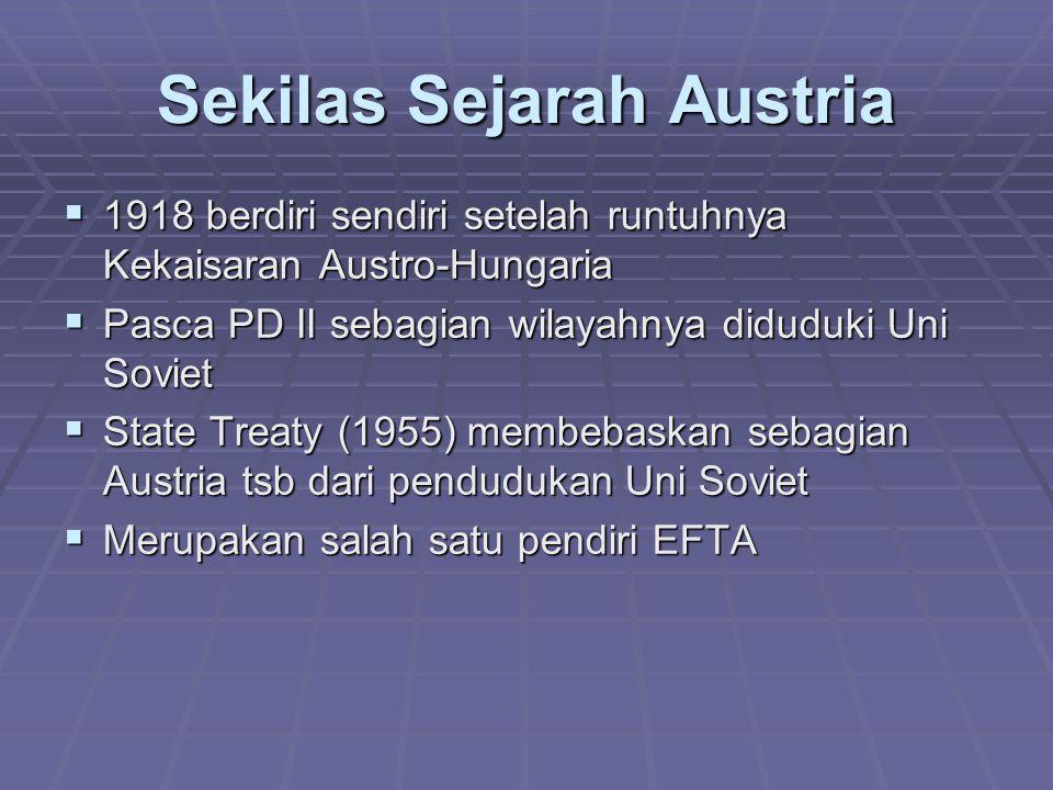 Sekilas Sejarah Austria  1918 berdiri sendiri setelah runtuhnya Kekaisaran Austro-Hungaria  Pasca PD II sebagian wilayahnya diduduki Uni Soviet  St