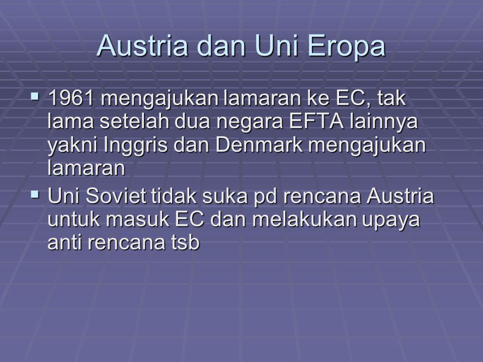 Debat di dalam negeri:  Partai Sosialis Austria (SPO) memilih keanggotaan di EFTA dan berusaha memperlambat upaya untuk masuk EC  Partai Rakyat Austria (OVP) mendukung rencana masuk EC dgn melihat keuntungan ekonomi yg akan didapat