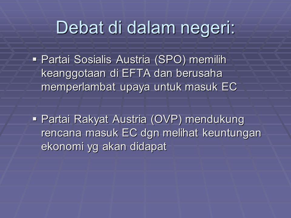 Tahapan aplikasi  1972 Austria tergabung dalam kesepakatan Free Trade Area dengan EC dan memperoleh status associated membership  1989 Austria memasukkan aplikasi formal di tengah perubahan situasi politik di Eropa Tengah dan Timur  Meski pro dan kontra di dalam negeri terus terjadi, Austria menyetujui keanggotaan Austria dalam UE dalam referendum 12 April 1994 (setuju 66,3 %)