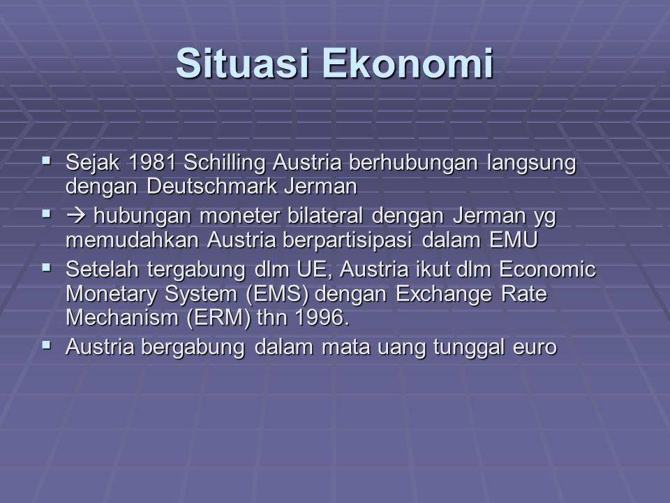 Situasi Ekonomi  Sejak 1981 Schilling Austria berhubungan langsung dengan Deutschmark Jerman   hubungan moneter bilateral dengan Jerman yg memudahk