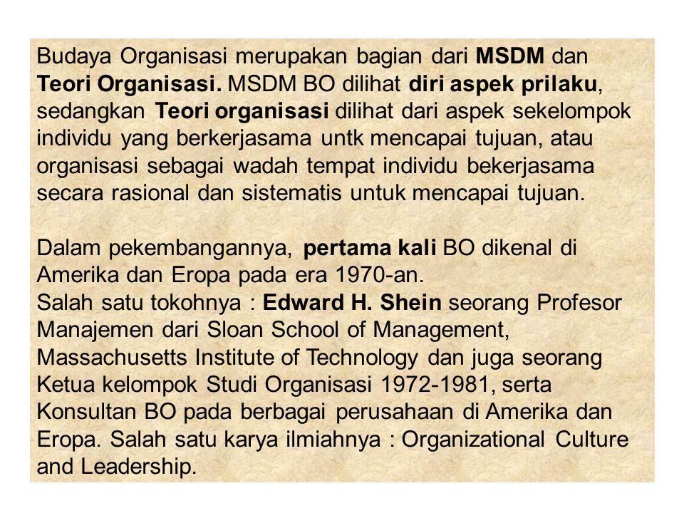 Budaya Organisasi merupakan bagian dari MSDM dan Teori Organisasi. MSDM BO dilihat diri aspek prilaku, sedangkan Teori organisasi dilihat dari aspek s