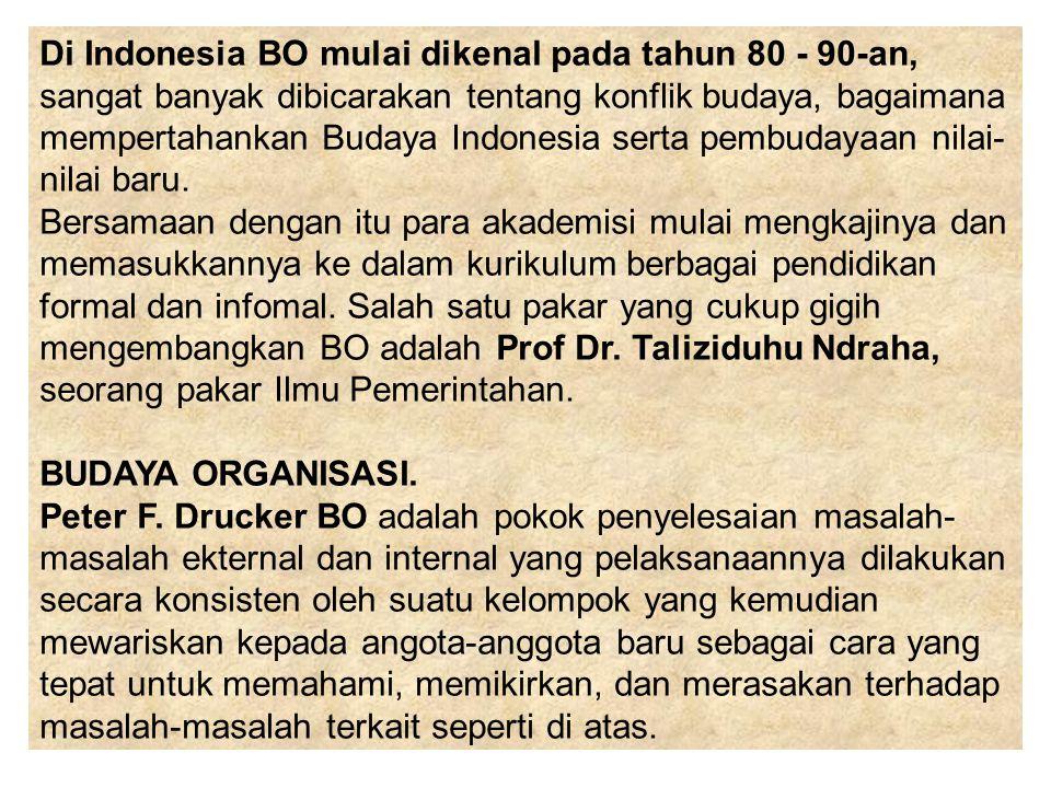 Di Indonesia BO mulai dikenal pada tahun 80 - 90-an, sangat banyak dibicarakan tentang konflik budaya, bagaimana mempertahankan Budaya Indonesia serta