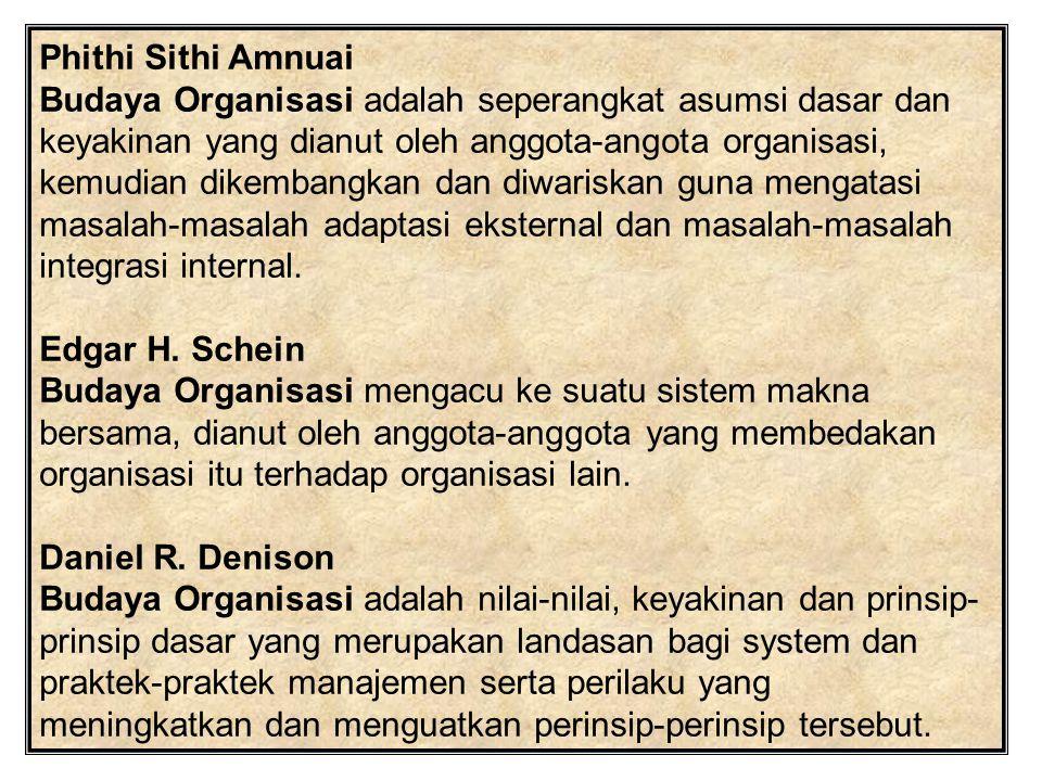 Phithi Sithi Amnuai Budaya Organisasi adalah seperangkat asumsi dasar dan keyakinan yang dianut oleh anggota-angota organisasi, kemudian dikembangkan