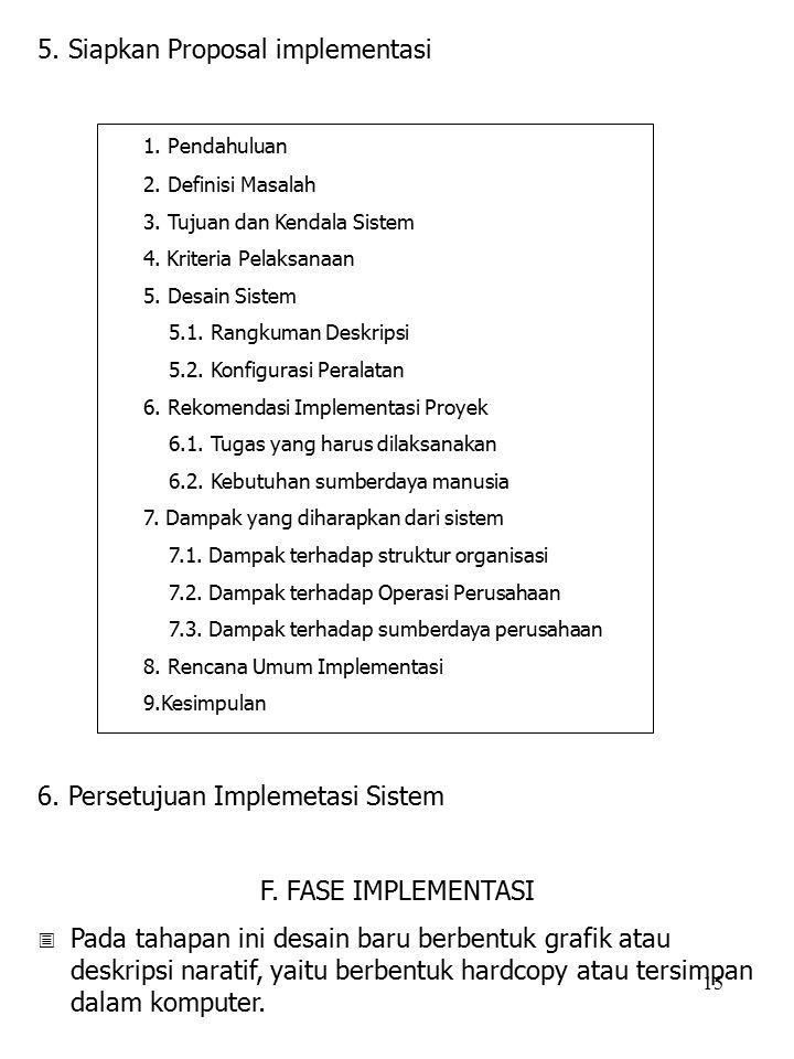 15 5. Siapkan Proposal implementasi 1. Pendahuluan 2. Definisi Masalah 3. Tujuan dan Kendala Sistem 4. Kriteria Pelaksanaan 5. Desain Sistem 5.1. Rang