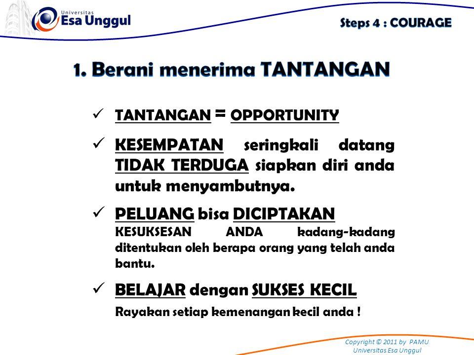 Copyright © 2011 by PAMU Universitas Esa Unggul TANTANGAN = OPPORTUNITY KESEMPATAN seringkali datang TIDAK TERDUGA siapkan diri anda untuk menyambutny