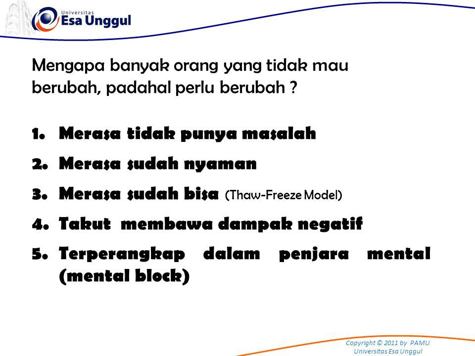 Copyright © 2011 by PAMU Universitas Esa Unggul Mengapa banyak orang yang tidak mau berubah, padahal perlu berubah ? 1.Merasa tidak punya masalah 2.Me
