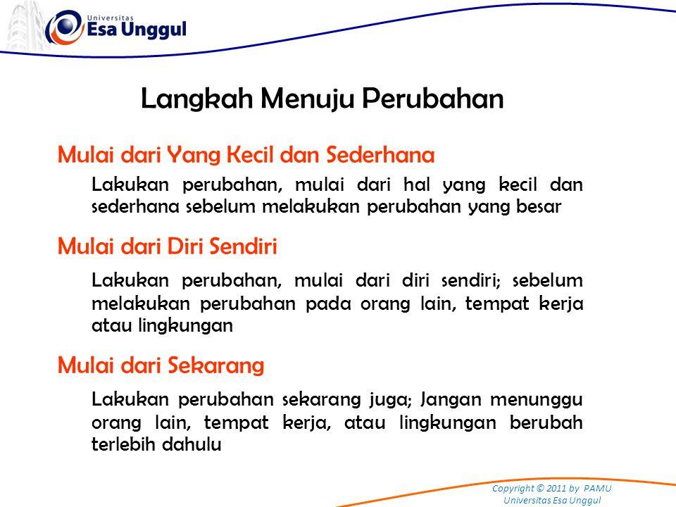 Copyright © 2011 by PAMU Universitas Esa Unggul Langkah Menuju Perubahan Mulai dari Yang Kecil dan Sederhana Lakukan perubahan, mulai dari hal yang ke