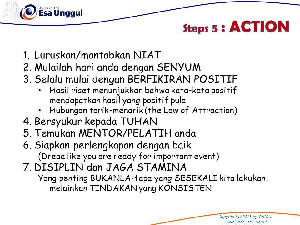 Copyright © 2011 by PAMU Universitas Esa Unggul 1.Luruskan/mantabkan NIAT 2.Mulailah hari anda dengan SENYUM 3.Selalu mulai dengan BERFIKIRAN POSITIF