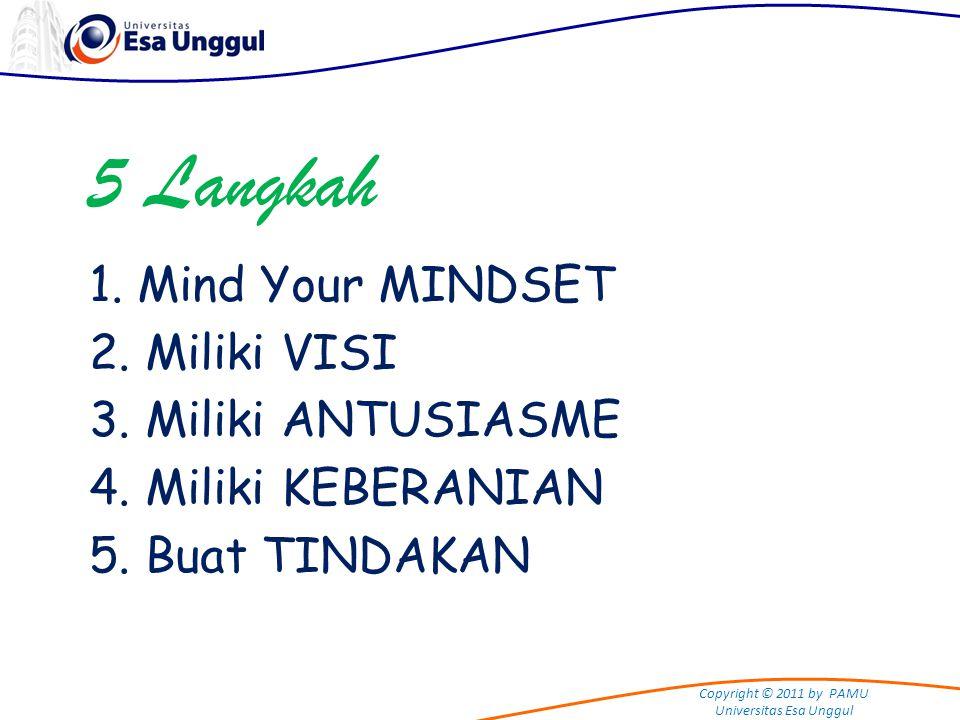 Copyright © 2011 by PAMU Universitas Esa Unggul 5 Langkah 1. Mind Your MINDSET 2. Miliki VISI 3. Miliki ANTUSIASME 4. Miliki KEBERANIAN 5. Buat TINDAK