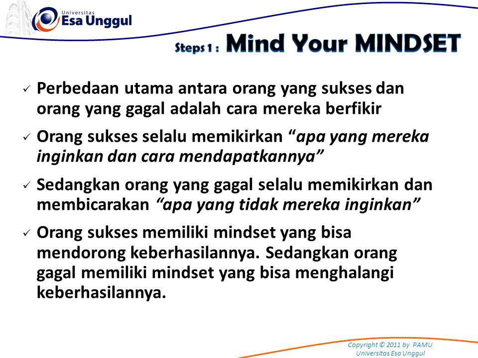 Copyright © 2011 by PAMU Universitas Esa Unggul Perbedaan utama antara orang yang sukses dan orang yang gagal adalah cara mereka berfikir Orang sukses
