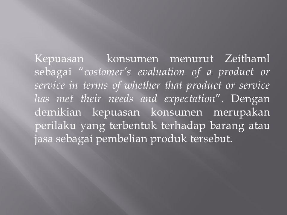 Kepuasan konsumen sendiri diartikan sebagai suatu keadaan dimana harapan konsumen terhadap suatu produk sesuai dengan kenyataan yang diterima tentang kemampuan produk tersebut oleh konsumen.