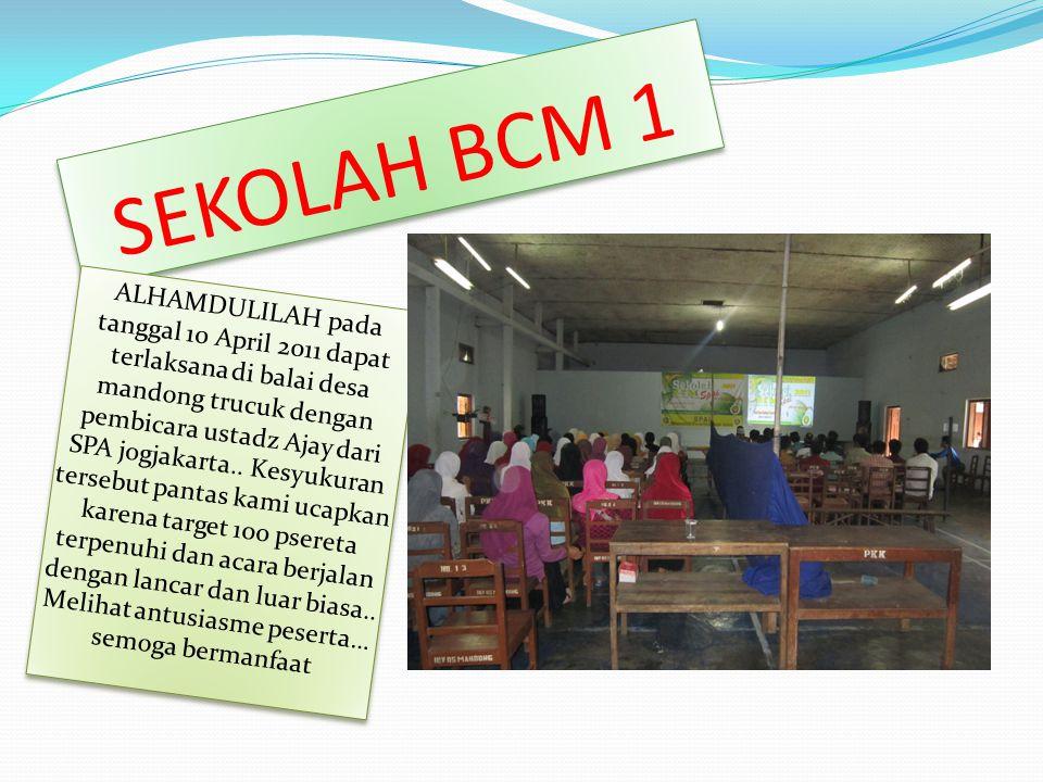 SEKOLAH BCM 1 ALHAMDULILAH pada tanggal 10 April 2011 dapat terlaksana di balai desa mandong trucuk dengan pembicara ustadz Ajay dari SPA jogjakarta..