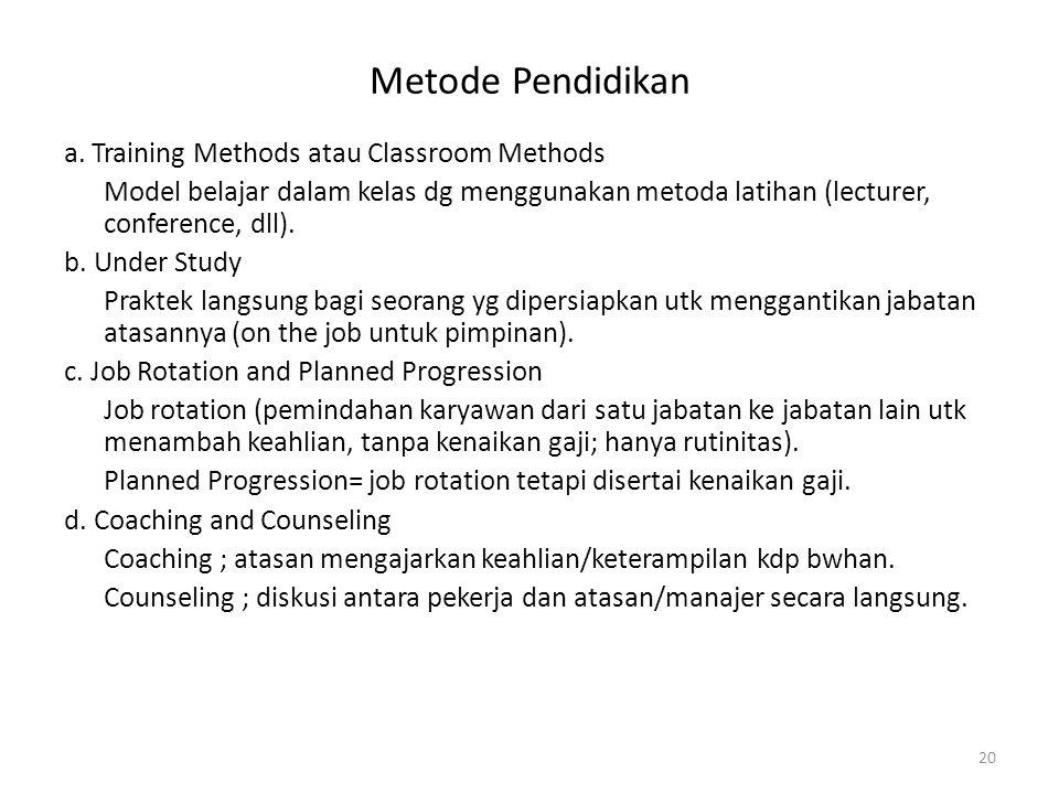 Metode Pendidikan a. Training Methods atau Classroom Methods Model belajar dalam kelas dg menggunakan metoda latihan (lecturer, conference, dll). b. U