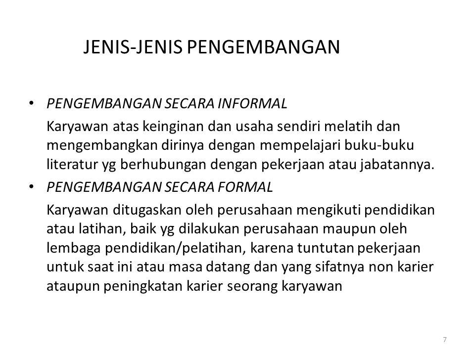 JENIS-JENIS PENGEMBANGAN PENGEMBANGAN SECARA INFORMAL Karyawan atas keinginan dan usaha sendiri melatih dan mengembangkan dirinya dengan mempelajari b