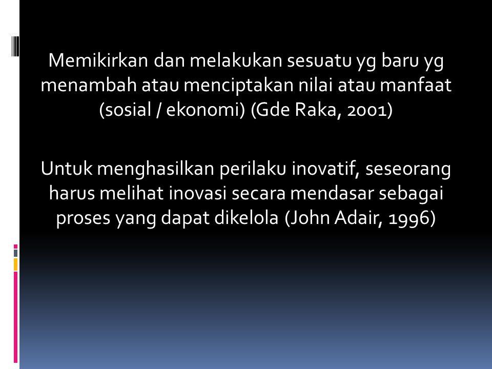 Memikirkan dan melakukan sesuatu yg baru yg menambah atau menciptakan nilai atau manfaat (sosial / ekonomi) (Gde Raka, 2001) Untuk menghasilkan perila
