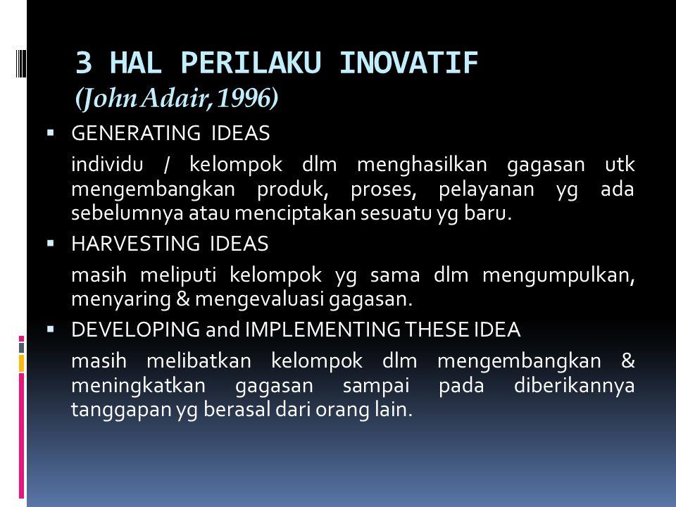 3 HAL PERILAKU INOVATIF (John Adair, 1996)  GENERATING IDEAS individu / kelompok dlm menghasilkan gagasan utk mengembangkan produk, proses, pelayanan