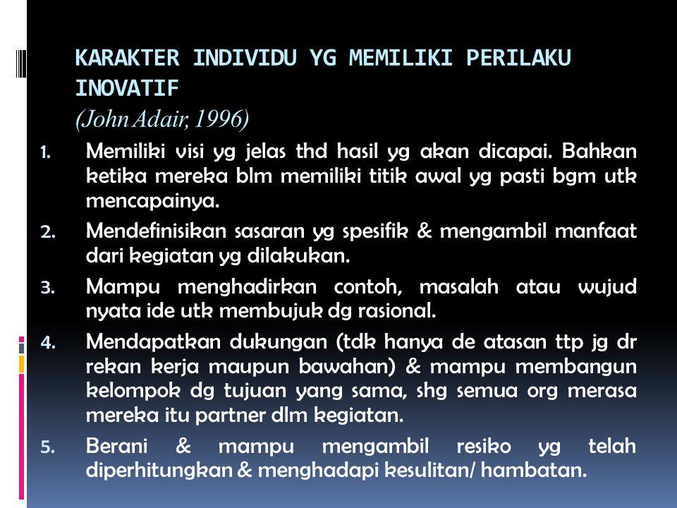 KARAKTER INDIVIDU YG MEMILIKI PERILAKU INOVATIF (John Adair, 1996) 1. Memiliki visi yg jelas thd hasil yg akan dicapai. Bahkan ketika mereka blm memil