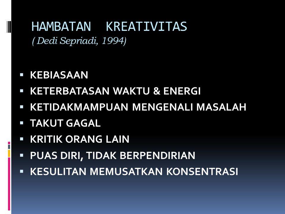HAMBATAN KREATIVITAS ( Dedi Sepriadi, 1994)  KEBIASAAN  KETERBATASAN WAKTU & ENERGI  KETIDAKMAMPUAN MENGENALI MASALAH  TAKUT GAGAL  KRITIK ORANG