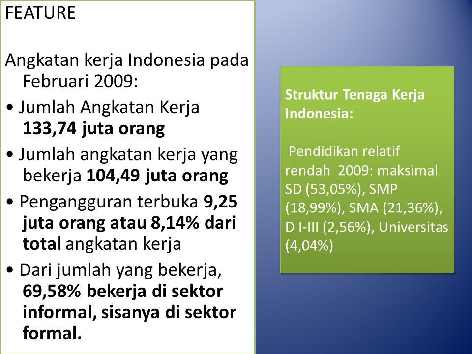FEATURE Angkatan kerja Indonesia pada Februari 2009: Jumlah Angkatan Kerja 133,74 juta orang Jumlah angkatan kerja yang bekerja 104,49 juta orang Pengangguran terbuka 9,25 juta orang atau 8,14% dari total angkatan kerja Dari jumlah yang bekerja, 69,58% bekerja di sektor informal, sisanya di sektor formal.