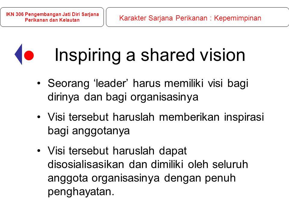 Inspiring a shared vision Seorang 'leader' harus memiliki visi bagi dirinya dan bagi organisasinya Visi tersebut haruslah memberikan inspirasi bagi anggotanya Visi tersebut haruslah dapat disosialisasikan dan dimiliki oleh seluruh anggota organisasinya dengan penuh penghayatan.