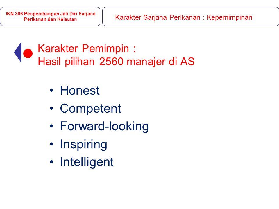 Karakter Pemimpin : Hasil pilihan 2560 manajer di AS Honest Competent Forward-looking Inspiring Intelligent IKN 306 Pengembangan Jati Diri Sarjana Perikanan dan Kelautan Karakter Sarjana Perikanan : Kepemimpinan