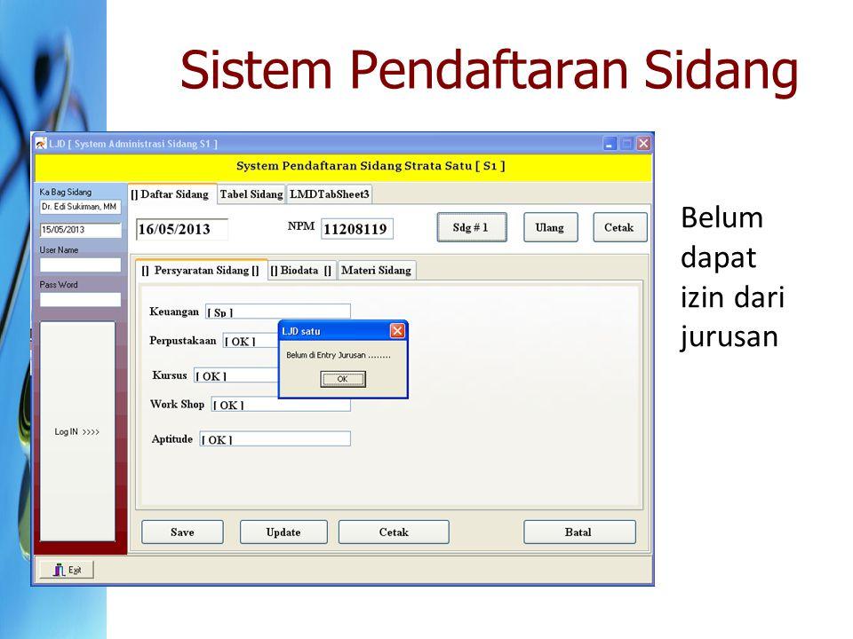 Sistem Pendaftaran Sidang Belum dapat izin dari jurusan