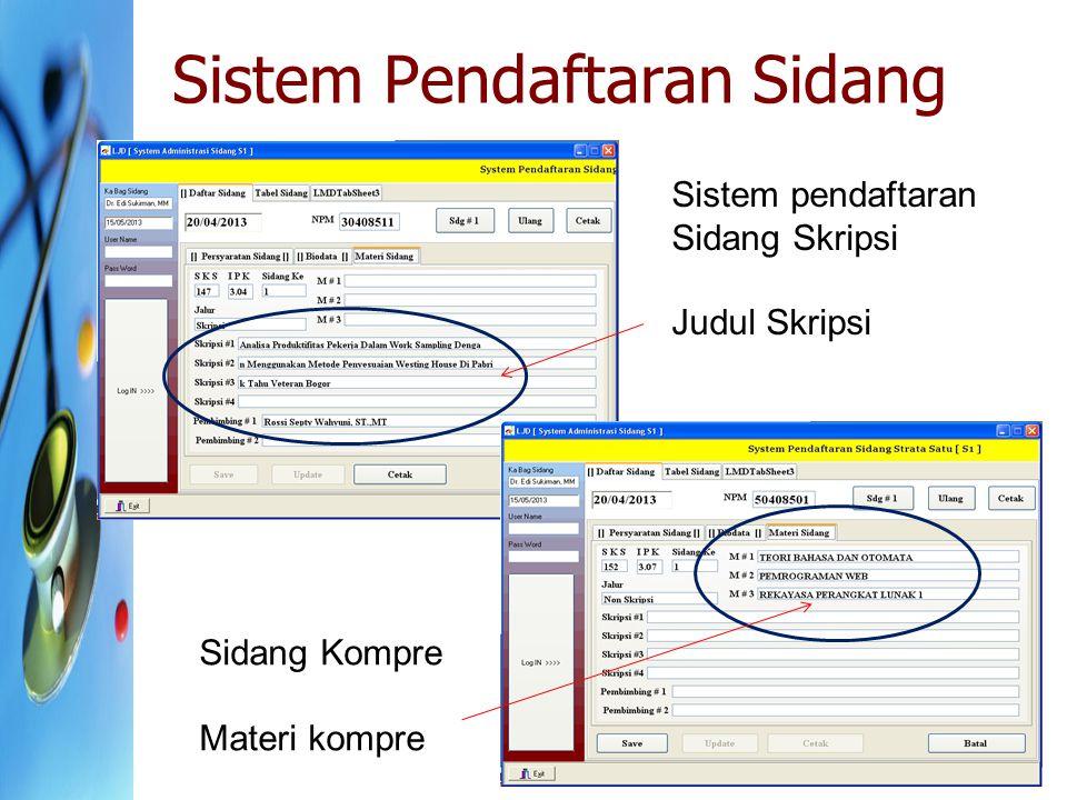 Sistem Pendaftaran Sidang Sistem pendaftaran Sidang Skripsi Judul Skripsi Sidang Kompre Materi kompre