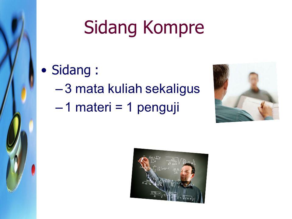 Sidang Kompre Sidang : –3 mata kuliah sekaligus –1 materi = 1 penguji