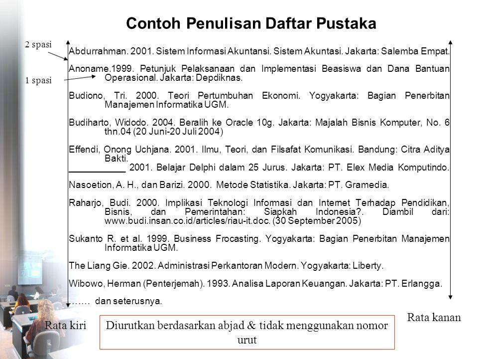 Contoh Penulisan Daftar Pustaka Abdurrahman. 2001. Sistem Informasi Akuntansi. Sistem Akuntasi. Jakarta: Salemba Empat. Anoname.1999. Petunjuk Pelaksa