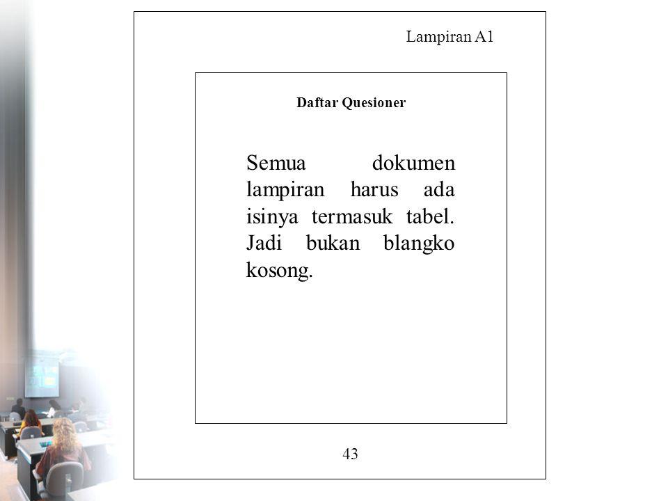 Lampiran A1 43 Daftar Quesioner Semua dokumen lampiran harus ada isinya termasuk tabel. Jadi bukan blangko kosong.