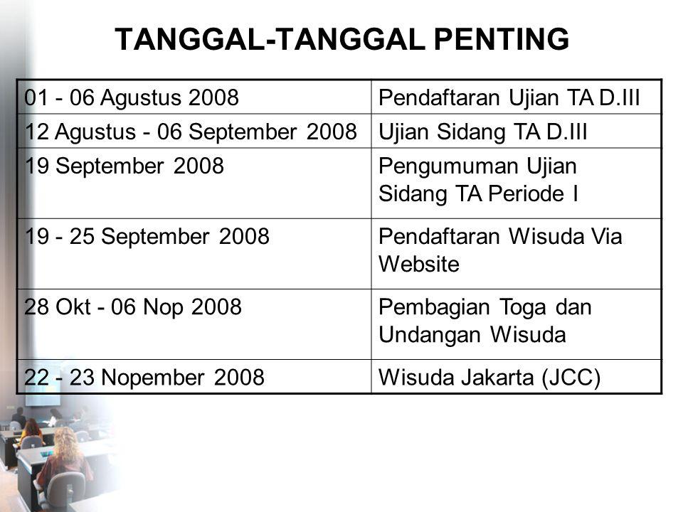 TANGGAL-TANGGAL PENTING 01 - 06 Agustus 2008Pendaftaran Ujian TA D.III 12 Agustus - 06 September 2008Ujian Sidang TA D.III 19 September 2008Pengumuman